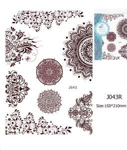 Henna tetoválás matrica 15cmX21cm J043R  43R