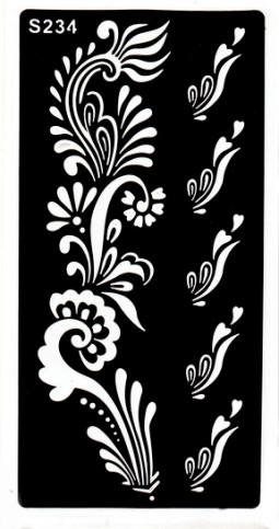 Henna tetováló sablon 10cmX18cm  234