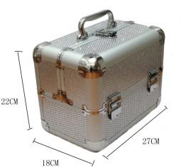 Kozmetikai bőrönd,Műkörmös táska,glitter,Ezüst,  280