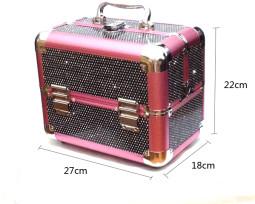 Kozmetikai bőrönd,Műkörmös táska,glitter,Fekete  280