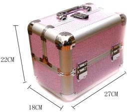 Kozmetikai bőrönd,Műkörmös táska,glitter,Pink,  280