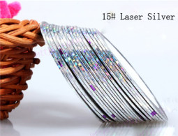 Műköröm díszítő csík 15-Laser silver  015