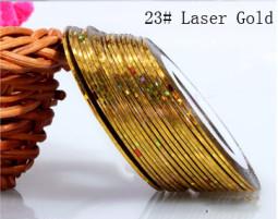 Műköröm díszítő csík 23-Laser gold  023